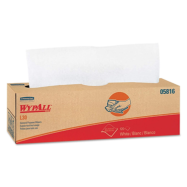 Wypall KC 05816 L30 Light-Duty Cleaning Cloths, White, Pop-Up Box