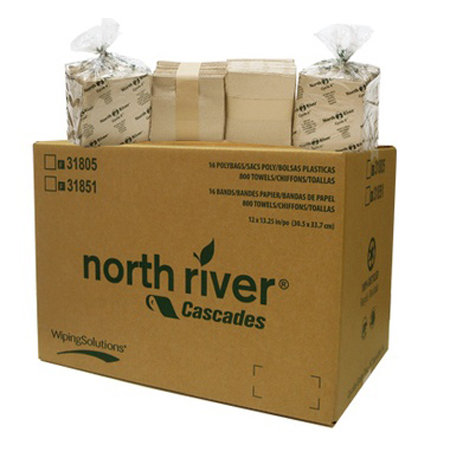 """North River 31805 Brown Paper Towels, 12""""x13"""", 1/4 Fold"""