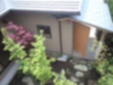木造住宅 中庭 平屋 無垢フローリング