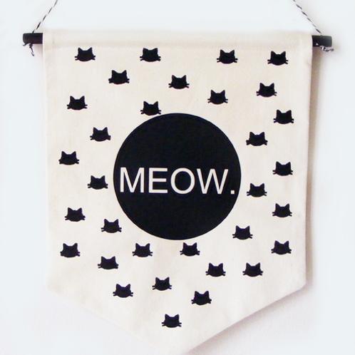 Banderola de tela Miau para amantes de los gatos