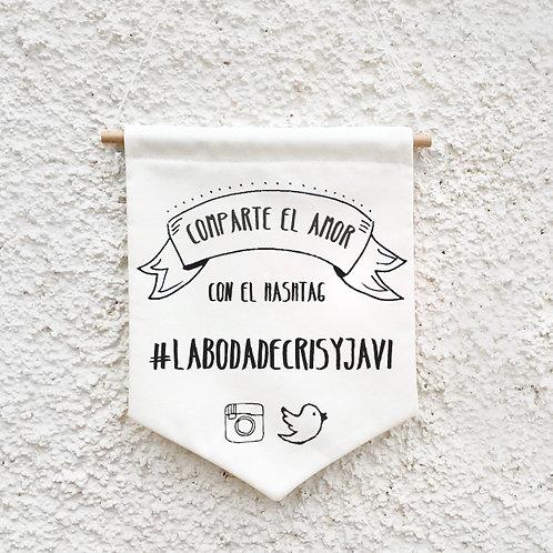 Banderola Hashtag  para bodas