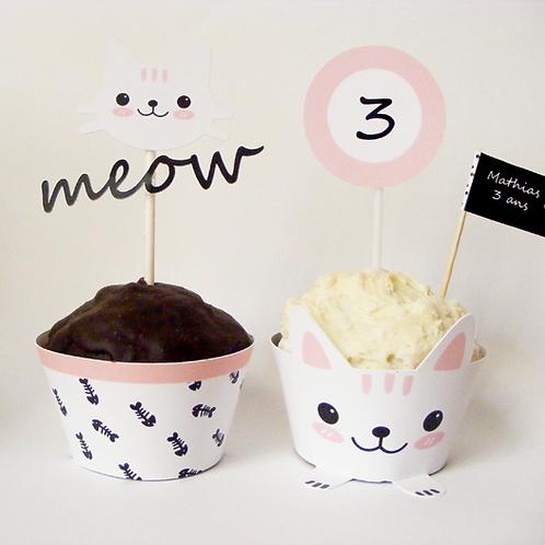 Wrappers y toppers para cupcakes. Fiesta temática gatitos.