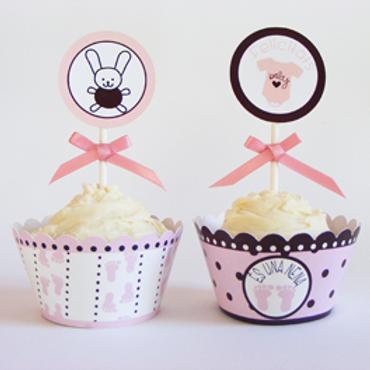 Wrappers y toppers baby shower