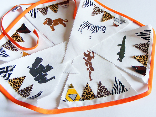 Guirnalda de 6 banderines de tela pintados a mano. Fiesta baby jungla