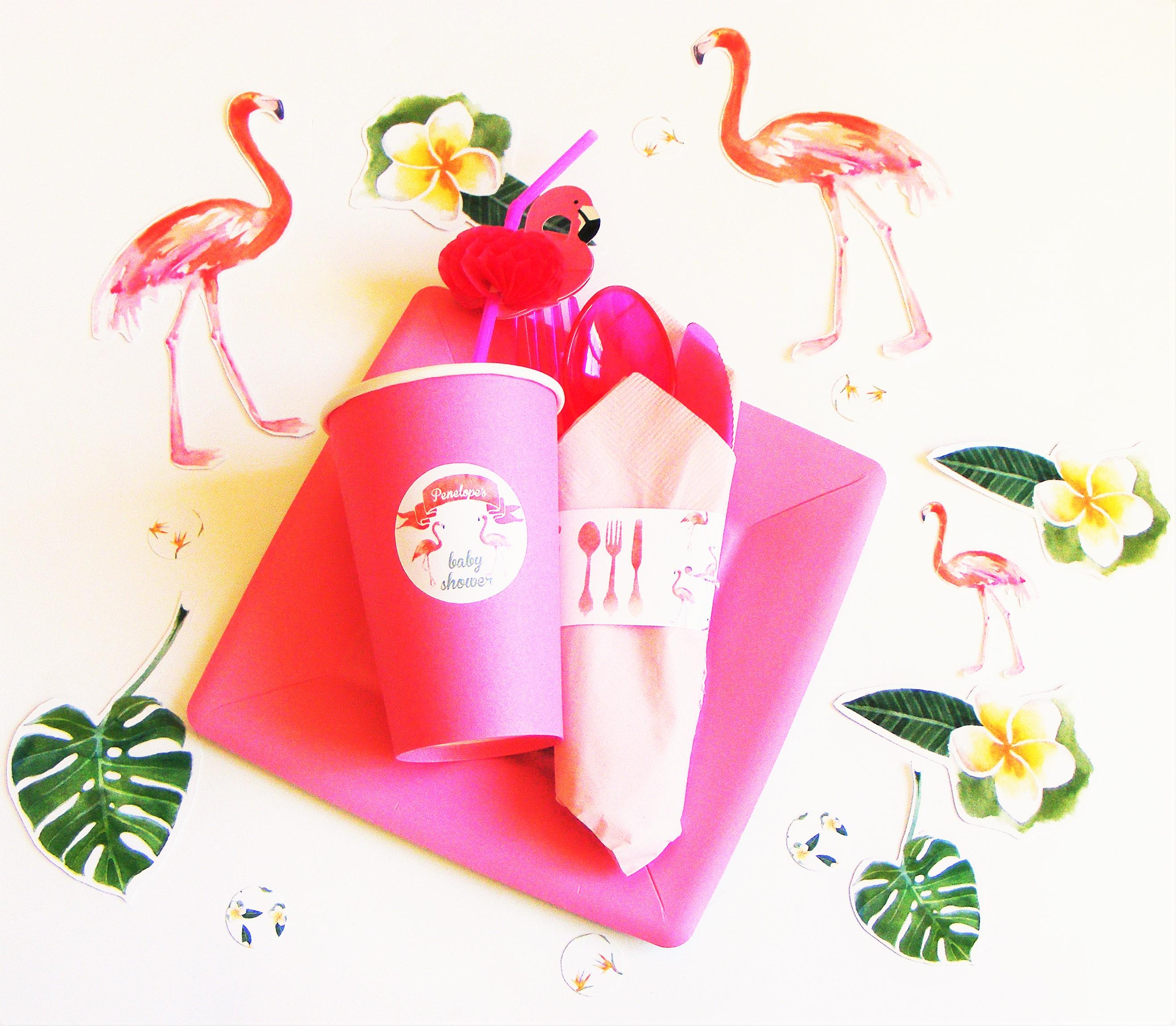 plato vaso servilletero flamingo