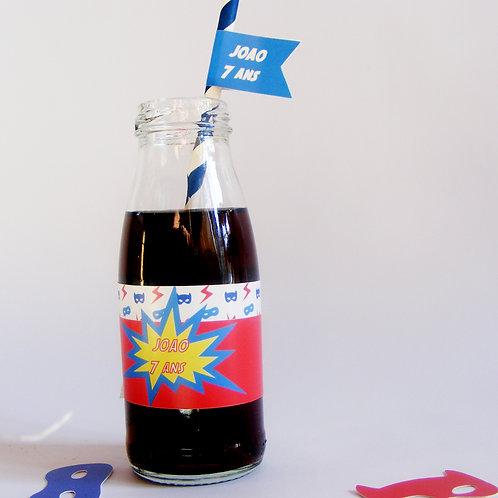 Étiquette pour petite bouteille d'eau. Thème super héros / Lot de 6