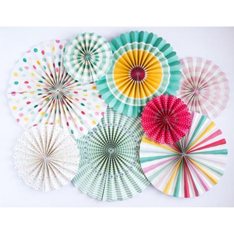 Set de abanicos de papel / 8 ud.  Fiesta cupcake