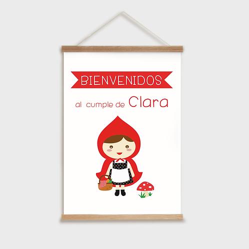 Cartel bienvenida. Fiesta caperucita roja .Personalizado