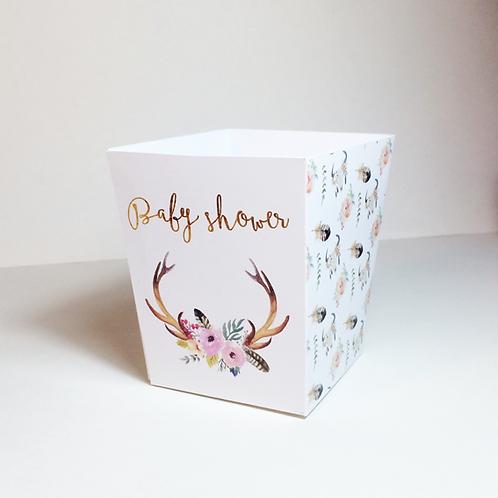 Caja de palomitas para baby shower bohemio