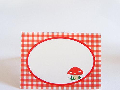 Etiquettes de table, fête chaperon rouge