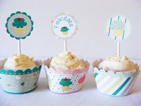 Wrappers y toppers para cupcakes