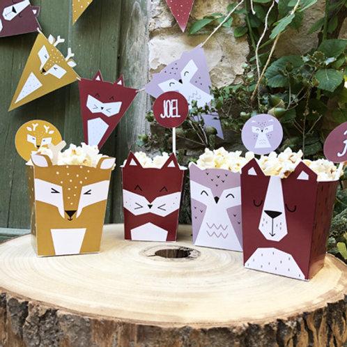 Cajita tipo popcorn. Fiesta animales del bosque / Set de 4 - 8