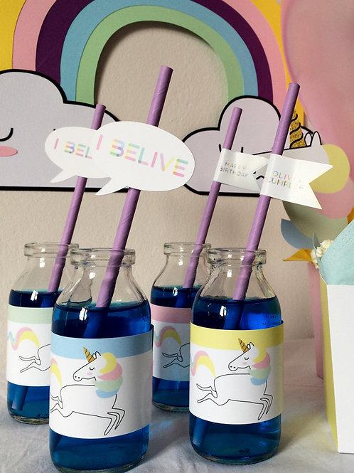 Etiqueta para botellita. Fiesta unicornio / 6 ud.