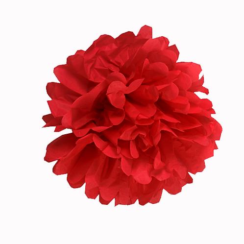 Pompón papel de seda. Fiesta caperucita roja / 1 ud.