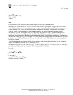 UBC offer