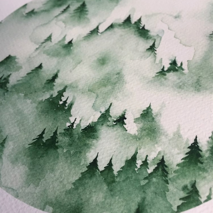Pacific Northwest Watercolor Trees and Wine Night