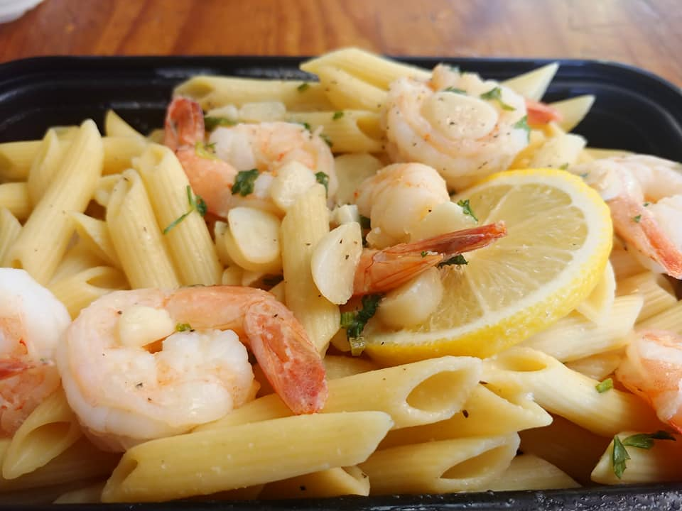 Shrimp Scampi over Penne