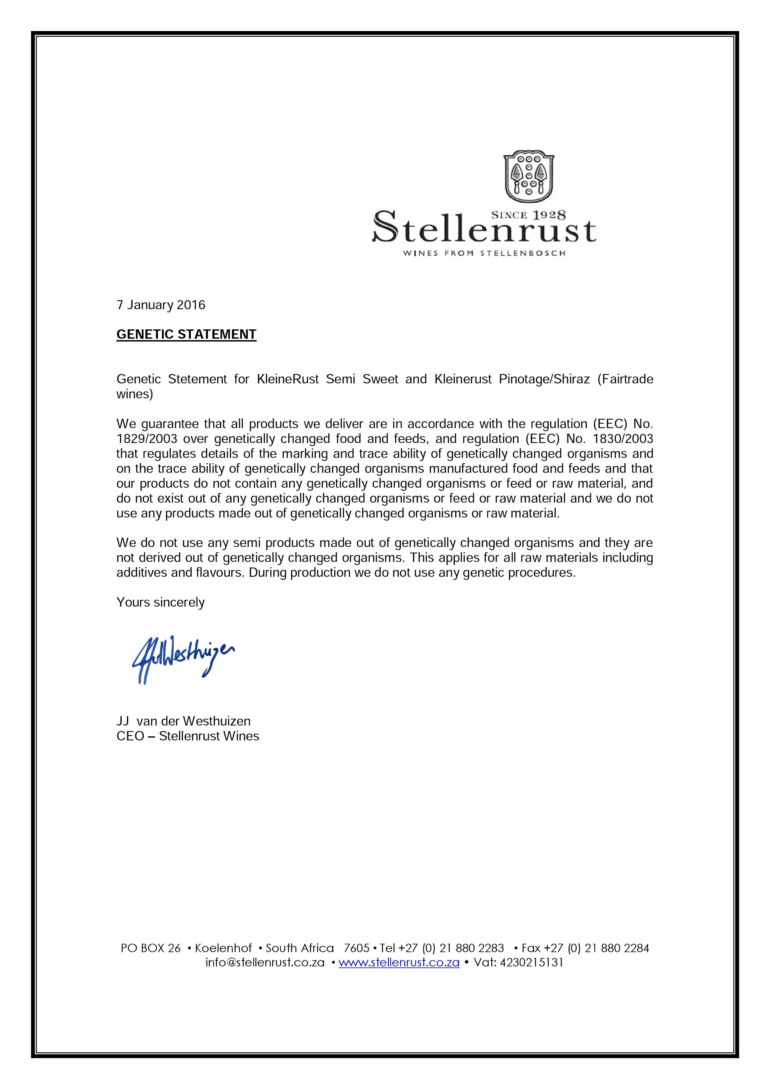 Stellenrust - Genetic Statement