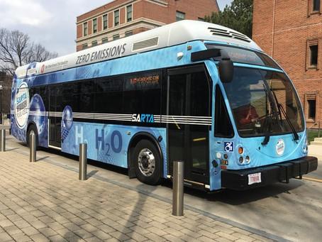 Hydrogen fuel cell bus makes maiden voyage on campus