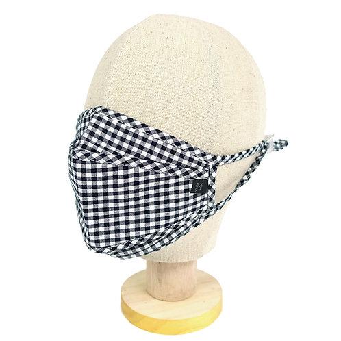 3D Cloth Mask - Plaid Check (Black)(M0003)