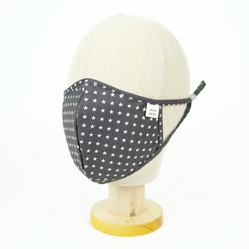 Cloth Mask - Stars with wire (Ivory, Dark Grey)(M0032)