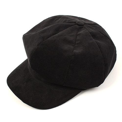 [Universal Chemistry] Corduroy Black Newsboy Cap (A0002)