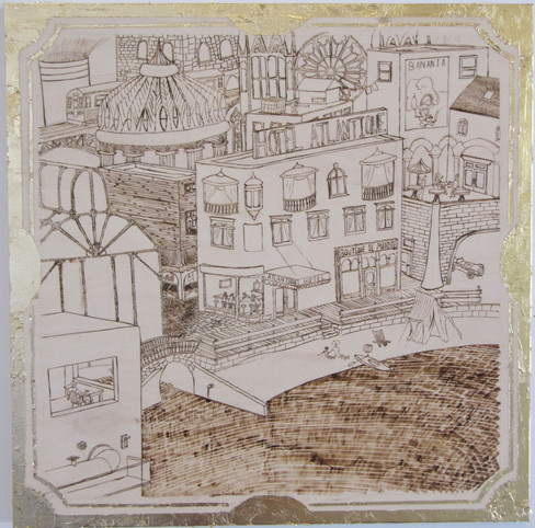 """Pyrography on softwood with a gold leaf """"frame"""". Cityscape of a fictional French town on the Mediterranean."""