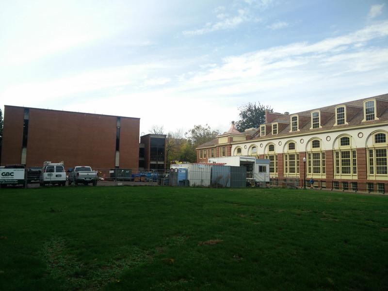 Gerlinger Hall and Gerlinger Annex on the left