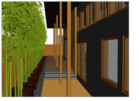 "Rear ""deck"" in Kengo Kuma-inspired design #15"