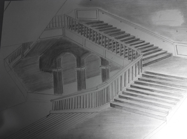 Graphite on stock paper. Exercise in shading. Stairwell in the Multnomah Central Libary.