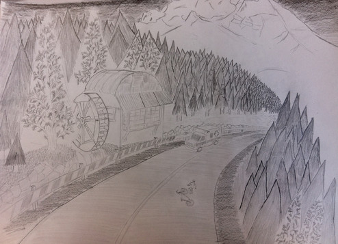 Graphite on stock paper. An ambulance coming to a bicycle incident on Mt. Hood.