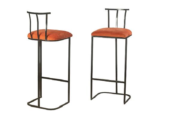Black and Orange Upholstered Bar stools