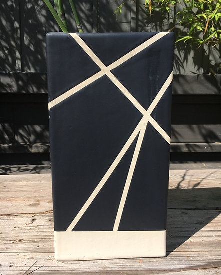 Tall Black & White Line Vase