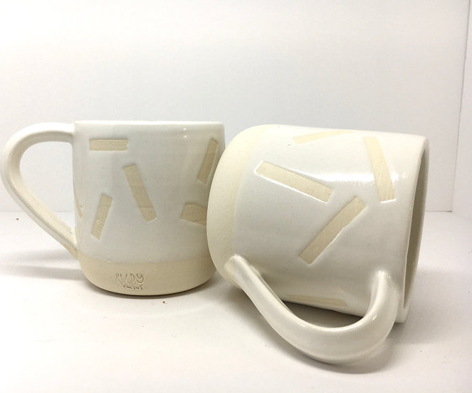 Confetti White on Porcelain Mug