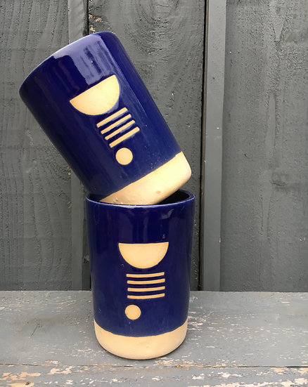 Tall 18oz Geometric Tumbler in Cobalt Blue