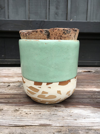 Cork Top Jar Half Dipped in Pistachio