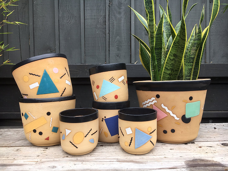 "3"" 4"" 6"" or 8"" Memphis Inspired Plant Pot"