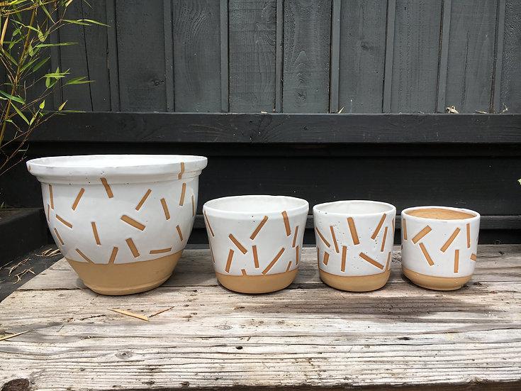 White Confetti Pot