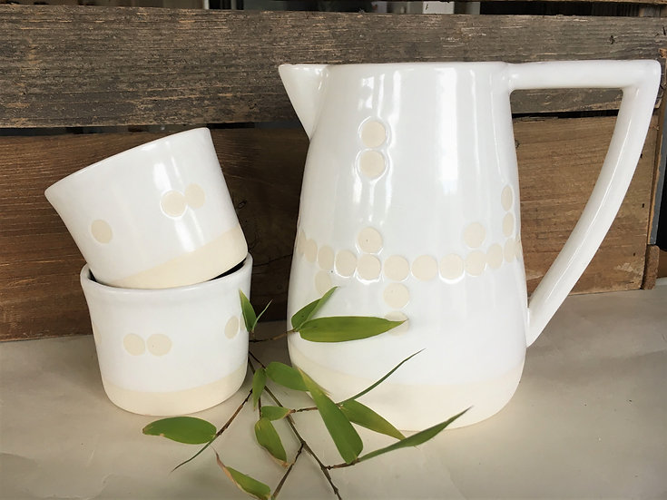 White Pitcher with Two Tumblers