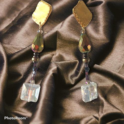orecchini piastra quadra di zama e Swarovski
