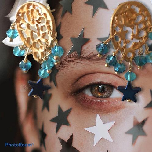 orecchini piastrina di zama con Swarovskiazzurri e stellina