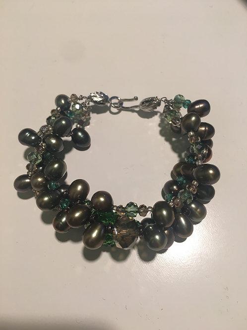 Bracciale perle verdi e Swarovski