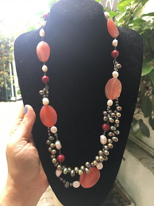 Collana perle fette di agata Rosso arancio