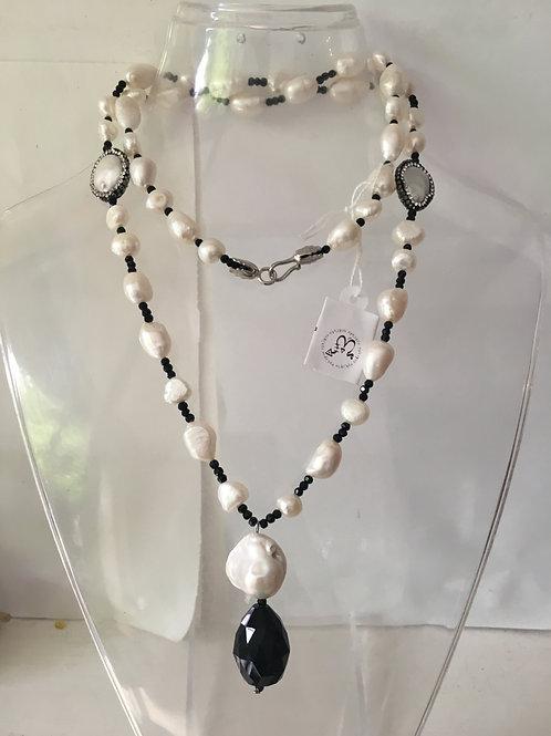 Collana lunga perle e swarovski