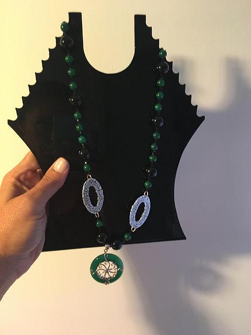 Collana lunga agata verde giada arg.925