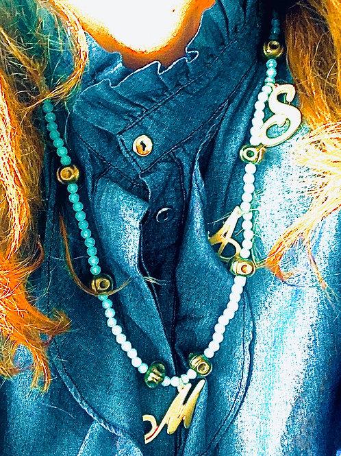 Collana pietre acquamarina con iniziali zama intervalli bronzo