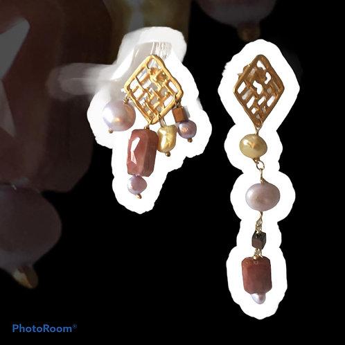 orecchini griglia di zama con perle e Swarovski
