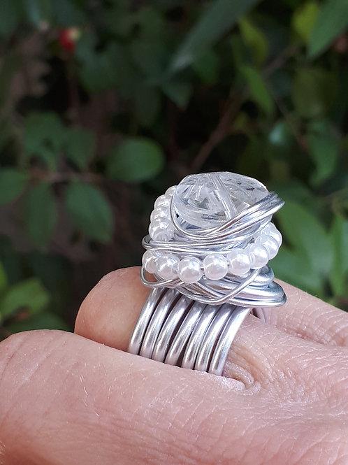 Anello fil di ferro , perline e Swarovski