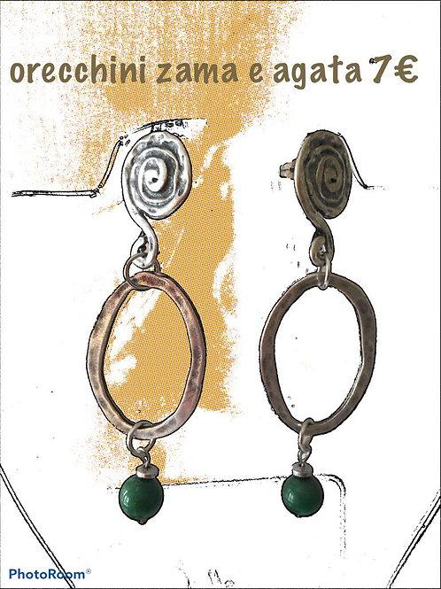 orecchini pendente ovale di zama argento con agata verde