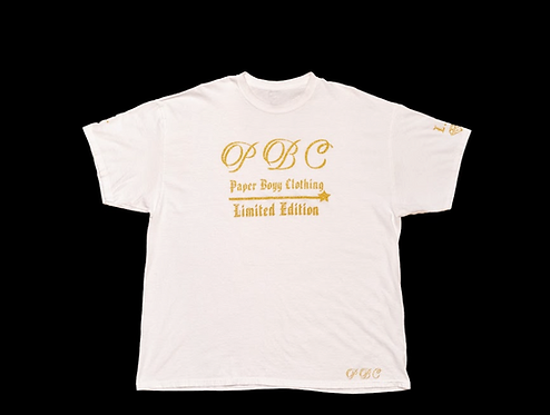 White T-Shirt (Gold Ice Design)